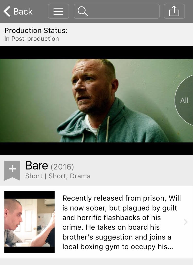 Mobile screenshot of Bare IMDb listing